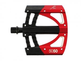 crankbrothers paire de pedales plates 5050 rouge noir