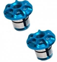 kcnc embouts de guidon 18 21mm alu bleu
