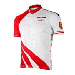 endura maillot manches courtes coolmax angleterre blanc rouge