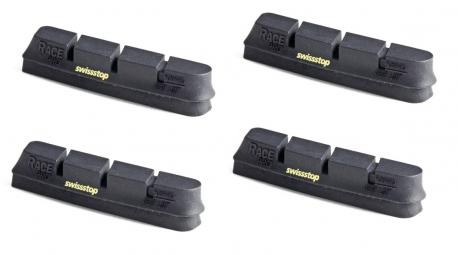 x4 cartouches de patins de freins swisstop race pro black prince pour jantes carbone