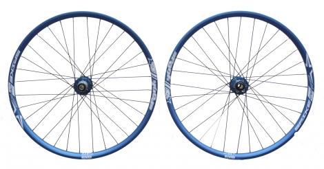 spank paire de roues spike race bleu 20mm 150x12mm