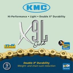kmc chaine x9 l gold light 116 maillons 9 vitesses