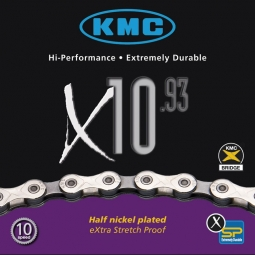 kmc chaine x10 93 silver 114 maillons 10 vitesses