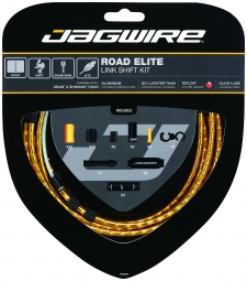 jagwire kit complet cables gaines road elite link derailleurs or