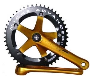 miche pedalier primato piste 165mm 46 dents or