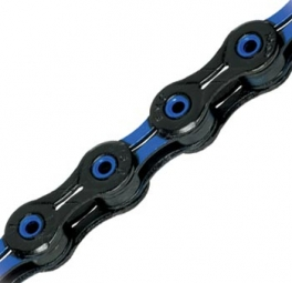 kmc chaine x10 sl dlc 114 maillons 10v noir bleu