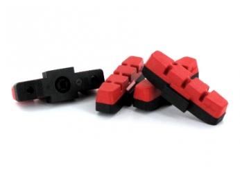 x4 cartouches de patins de freins magura hs11 33 kool stop rouge