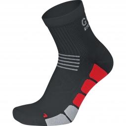 gore bike wear paire de chaussettes speed mid noir rouge