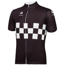 le coq sportif maillot manches courtes checkered noir