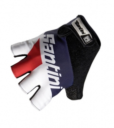 santini 2014 paire de gants courts dragon blanc rouge
