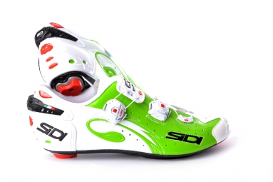 chaussures route sidi sidi wire blanc vert fluo