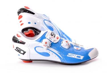 chaussures route sidi sidi wire blanc bleu