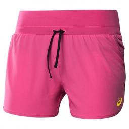asics short pace woven 3 5 pouces rose femme