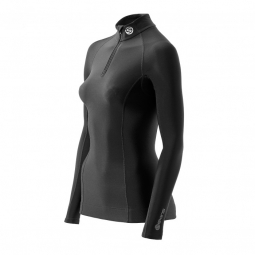 skins maillot thermal compressif manches longues zip femme a200 noir