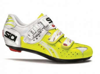 chaussures route sidi genius 5 fit carbon blanc jaune fluo