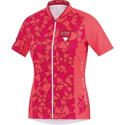 gore bike wear maillot manches courtes femmes element camo rose
