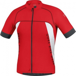 gore bike wear maillot manches courtes alp x pro rouge blanc