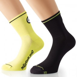 assos paire de chaussettes millesocks evo7 jaune volt pack de 2