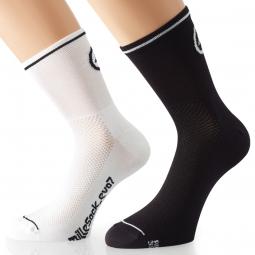 assos paire de chaussettes millesocks evo7 blanc volt pack de 2