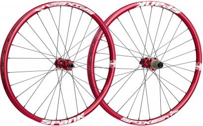 spank paire de roues spike race enduro 27 5 av 15mm et 9 12x142mm rouge