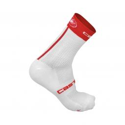 castelli paire de chaussettes free 9 blanc rouge