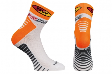 northwave paire de chaussettes speed blanc orange fluo