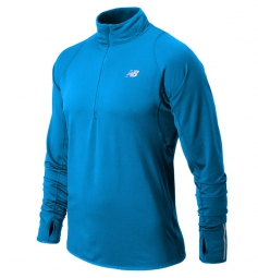 new balance t shirt ml 1 2 zip bleu