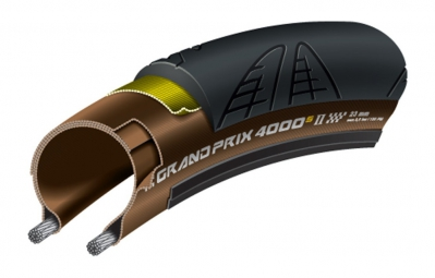 continental grand prix 4000s ii folding road tyre 700x23c black brown