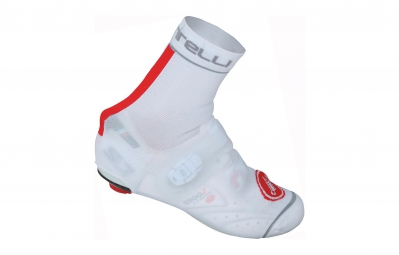 castelli couvres chaussures chaussettes belgian booties blanc rouge