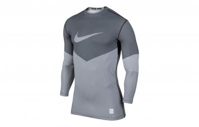 nike maillot de compression pro hyperwarm lines gris blanc homme