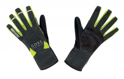gore bike wear gants universal windstopper mid noir jaune fluo