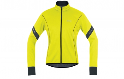 gore bike wear veste power 2 0 windstopper soft shell jaune fluo noir