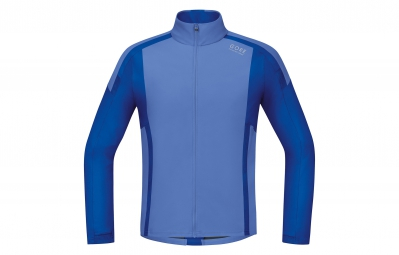 gore running wear maillot a manches longues air windstopper soft shell bleu