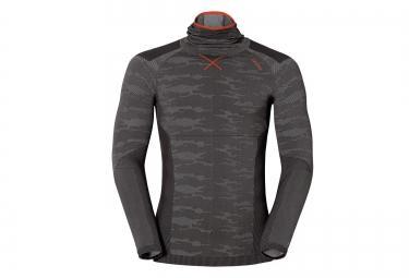 odlo t shirt capuche evolution warm blackcomb gris rouge