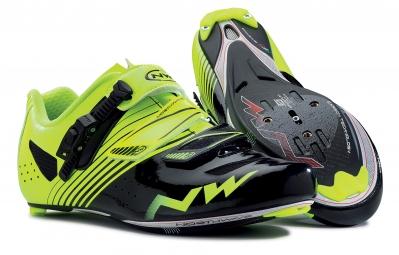 chaussures route northwave torpedo srs noir jaune fluo