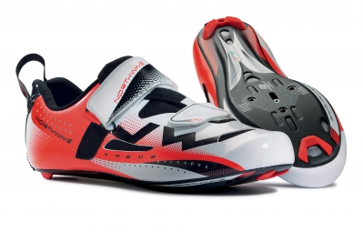 northwave paire de chaussures extreme triathlon orange fluo blanc