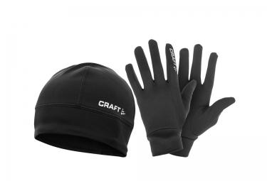 craft pack paire de gants et bonnet hybrid noir