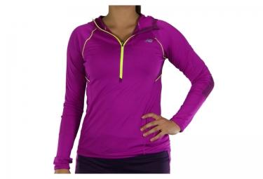 new balance tee shirt manche longue impact hoodie violet femme
