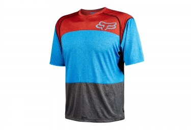 fox maillot manches courtes indicator heather bleu rouge