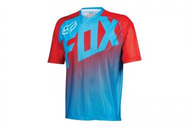 fox maillot manches courtes flow bleu rouge