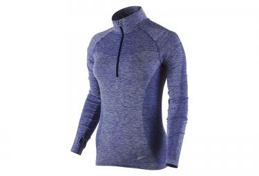 nike maillot dri fit knit half zip bleu femme