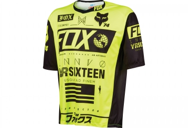 fox maillot manches courtes demo ss union jaune