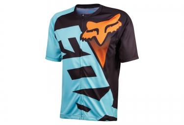 fox maillot manches courtes livewire aqua bleu orange noir