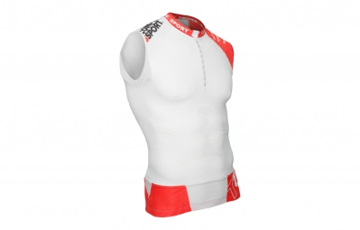 compressport maillot sans manche trail shirt v2 tank blanc