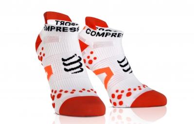 compressport paire de chaussettes pro racing socks v2 1 run blanc rouge