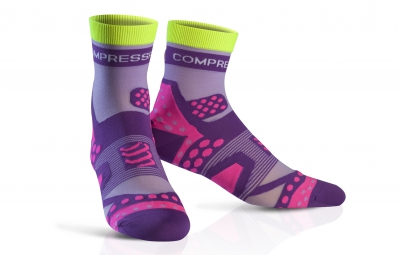 compressport paire de chaussettes pro racing socks ultra light run violet