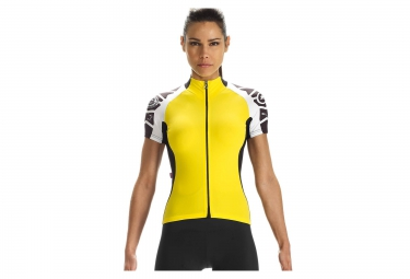 assos maillot laalalai evo 7 noir blanc jaune femme