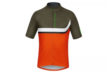 gore bike wear maillot power trail orange kaki