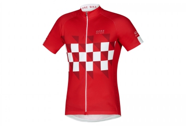 gore bike wear maillot element finishline rouge blanc