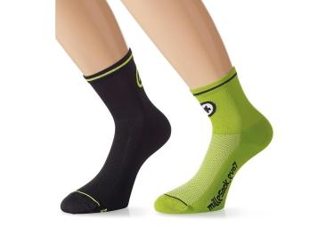 assos 2xpaire de chaussettes millesocks evo7 noir vert